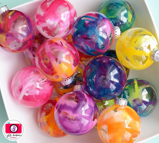 these melted crayon glass ball christmas ornaments are a must
