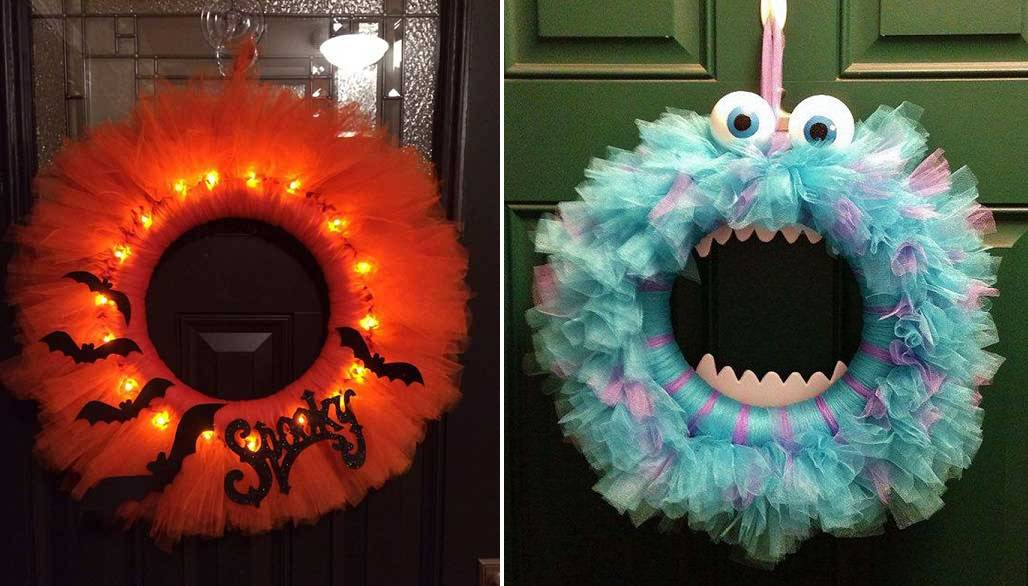 How To Make A Glowing Halloween Tulle Wreath And Other Spooky Styles