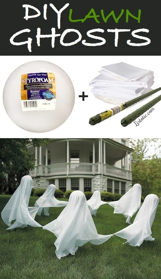The best do it yourself halloween decorations spooktacular inexpensive lightweight white fabric and garden stakes to make these spooky yard ghosts diy lawn ghosts yard halloween decorations tutorial listotic solutioingenieria Images