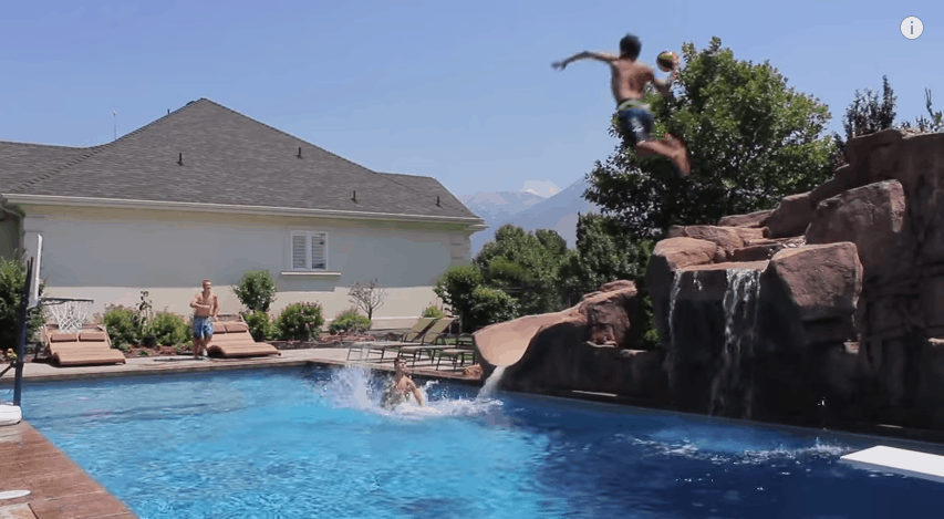 Basketball trick shots by the pool pool ball - Awesome swimming pool trick shots ...