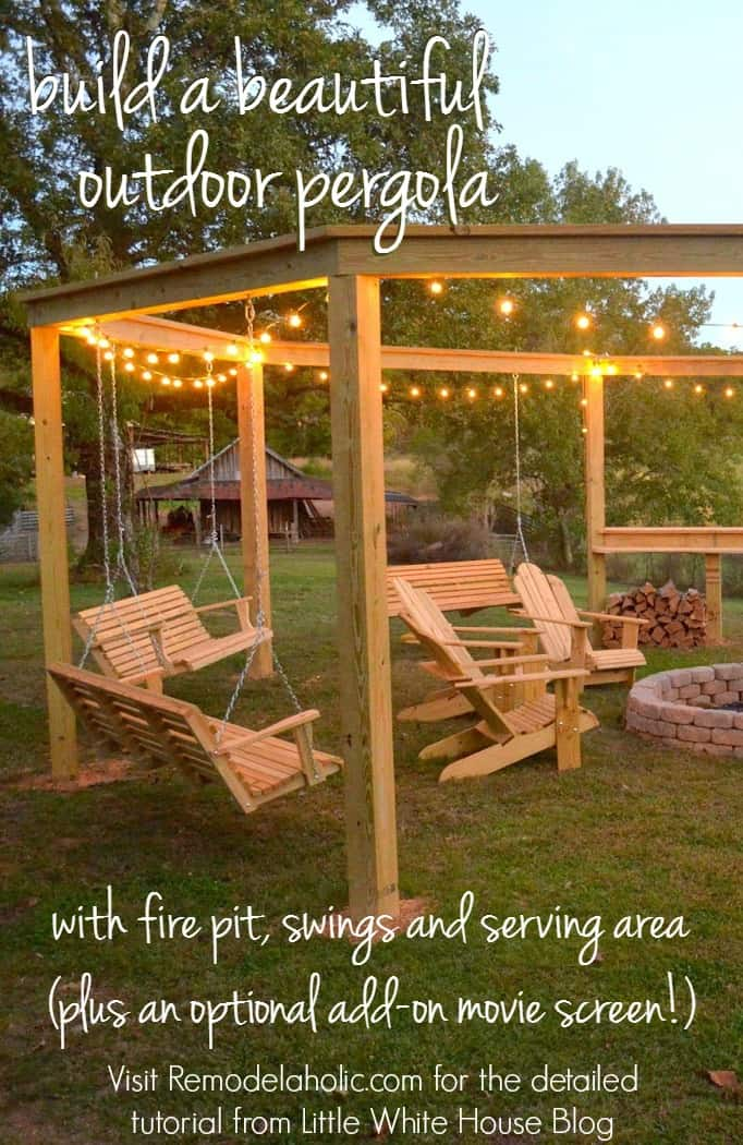 Build a Circular Pergola with Firepit, Swings, and Adirondack Chairs by  Brett and Lauren from Little White House Blog - How To Build An Outdoor Pergola, Firepit And Swings