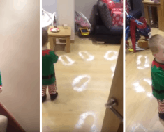 watch little boy cant believe his eyes when he sees santas footprints