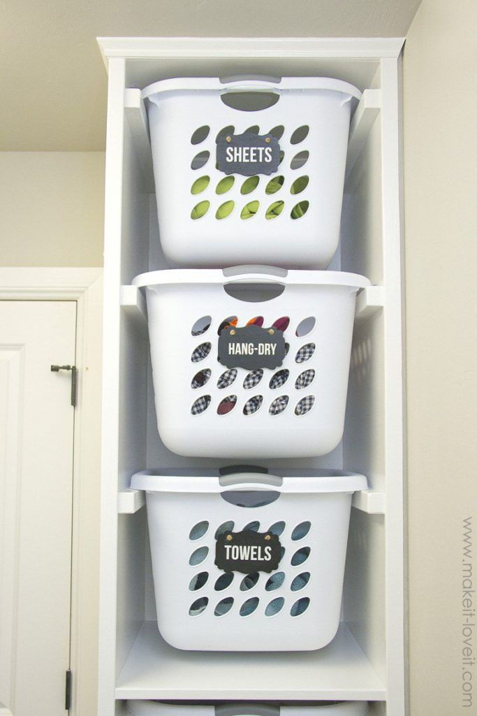 With this awesome project you will be able to fit 6 baskets in the laundry room, all at the same time…..woot woot! Each having their own little space inside ...