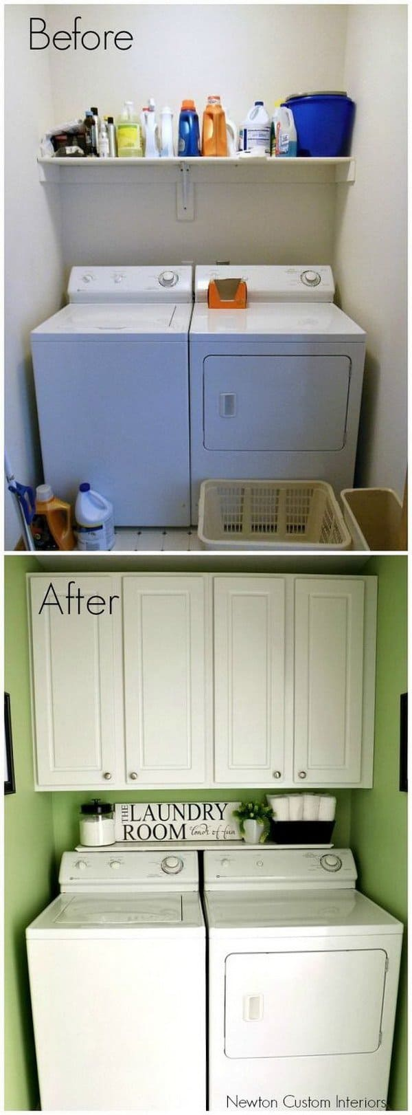 7 Small Space Makeovers: Awesome Before And After Laundry Room Makeovers • AwesomeJelly.com