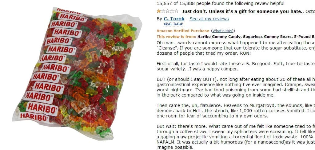 sugarless haribo gummy bear reviews on amazon are the funniest thing