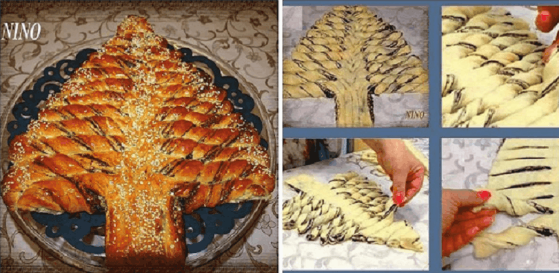 Nutella Christmas Tree.Braided Nutella Christmas Tree Bread Recipe