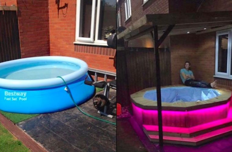 Zeer Man Builds Awesome Hot Tub Out Of A Trampoline And Inflatable Pool &YT88